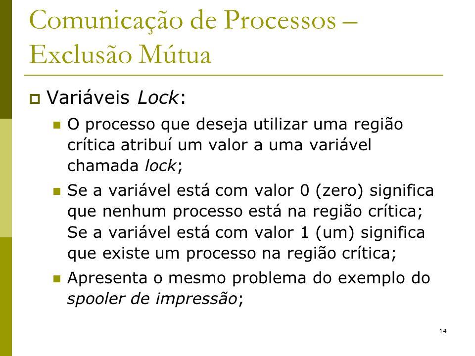 14 Comunicação de Processos – Exclusão Mútua Variáveis Lock: O processo que deseja utilizar uma região crítica atribuí um valor a uma variável chamada