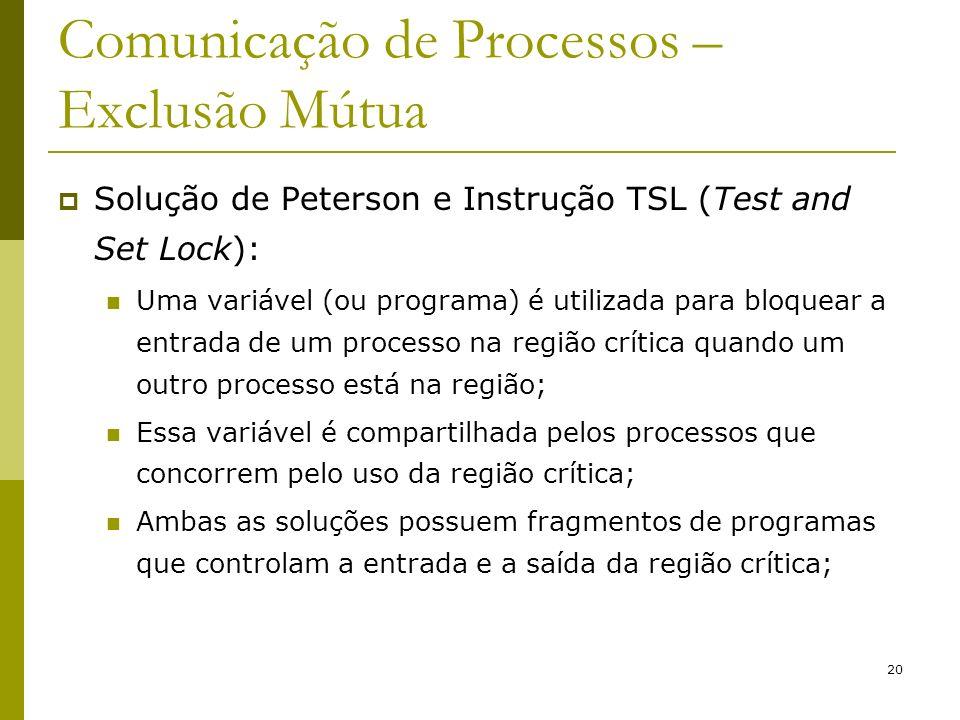 20 Comunicação de Processos – Exclusão Mútua Solução de Peterson e Instrução TSL (Test and Set Lock): Uma variável (ou programa) é utilizada para bloq