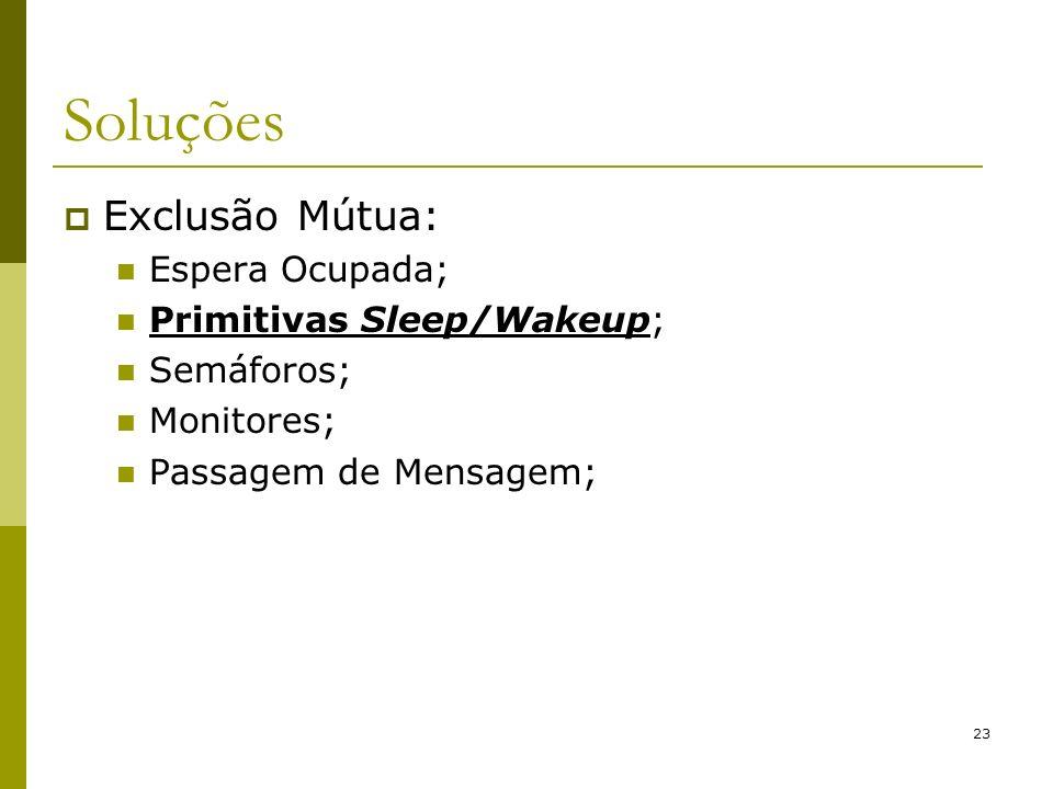 23 Soluções Exclusão Mútua: Espera Ocupada; Primitivas Sleep/Wakeup; Semáforos; Monitores; Passagem de Mensagem;