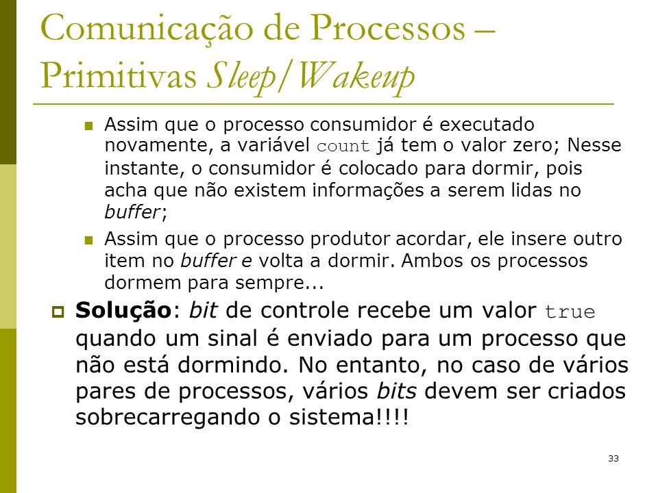 33 Comunicação de Processos – Primitivas Sleep/Wakeup Assim que o processo consumidor é executado novamente, a variável count já tem o valor zero; Nes