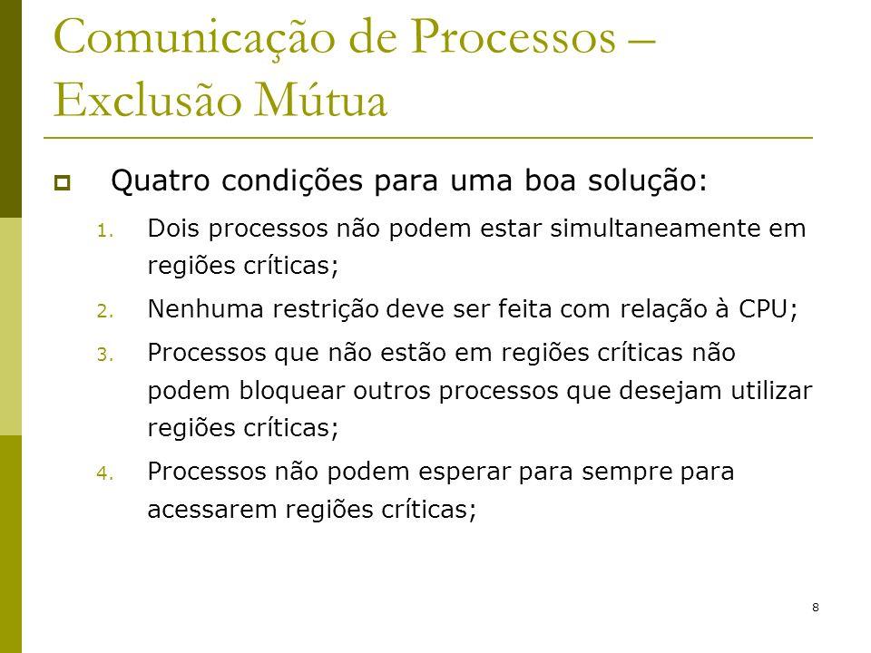 8 Comunicação de Processos – Exclusão Mútua Quatro condições para uma boa solução: 1. Dois processos não podem estar simultaneamente em regiões crític
