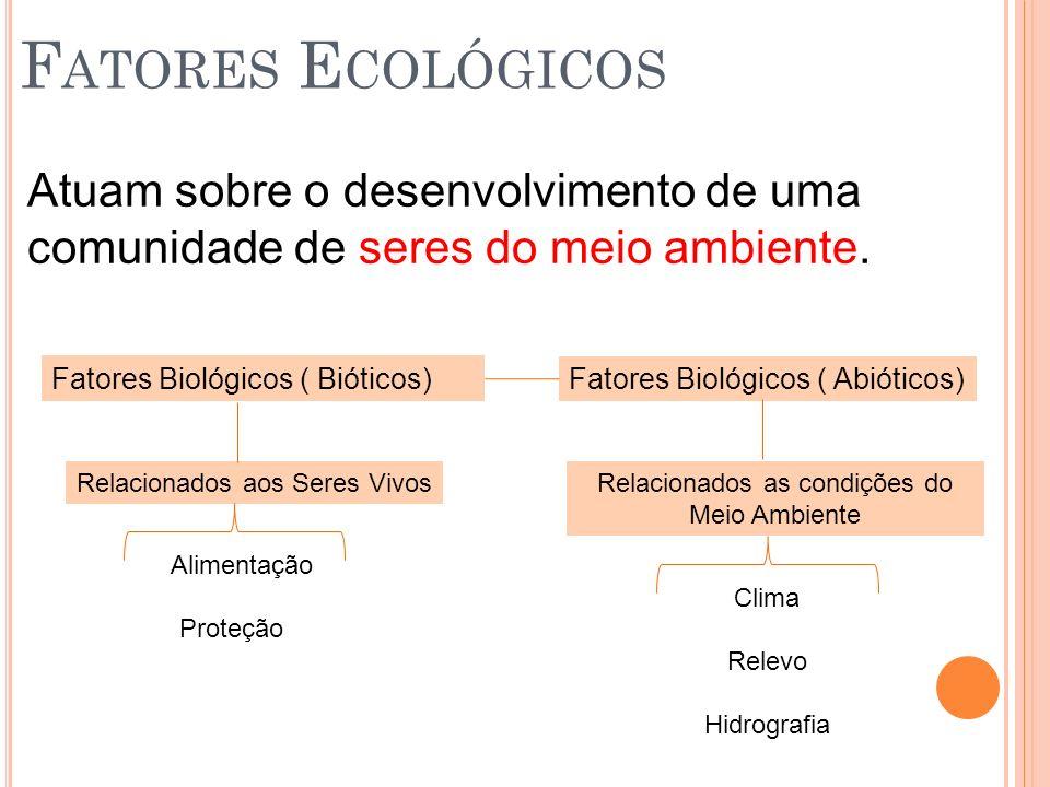 Atuam sobre o desenvolvimento de uma comunidade de seres do meio ambiente. Fatores Biológicos ( Bióticos) Fatores Biológicos ( Abióticos) Relacionados
