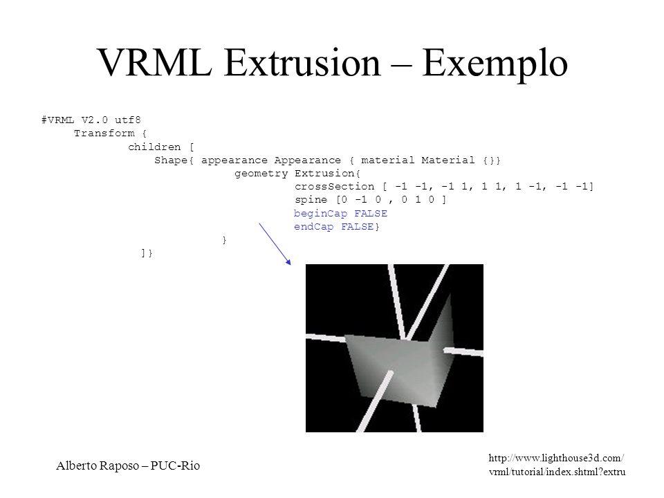 Alberto Raposo – PUC-Rio VRML Extrusion – Exemplo http://www.lighthouse3d.com/ vrml/tutorial/index.shtml?extru #VRML V2.0 utf8 Transform { children [