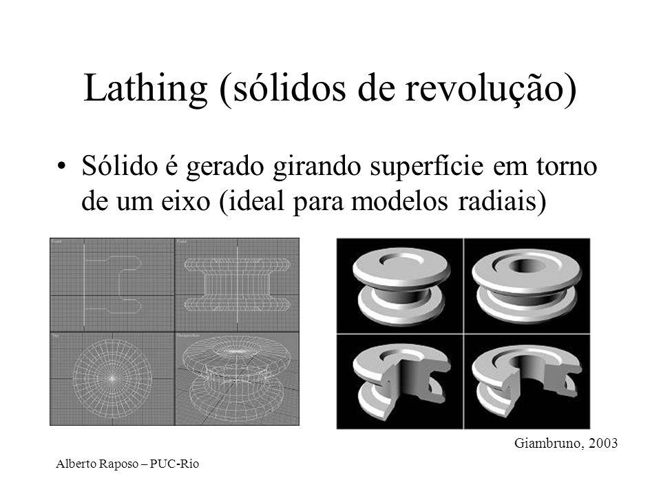 Alberto Raposo – PUC-Rio Lathing (sólidos de revolução) Sólido é gerado girando superfície em torno de um eixo (ideal para modelos radiais) Giambruno,
