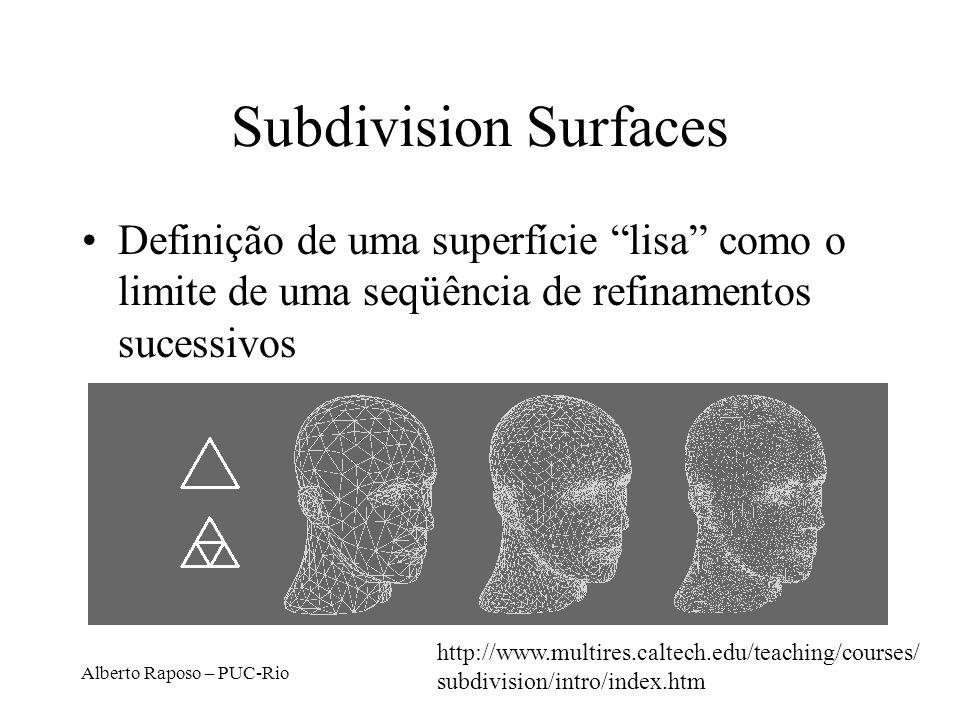Alberto Raposo – PUC-Rio Subdivision Surfaces Definição de uma superfície lisa como o limite de uma seqüência de refinamentos sucessivos http://www.mu