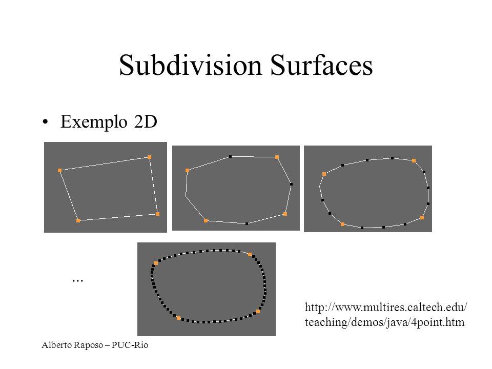Alberto Raposo – PUC-Rio Subdivision Surfaces Exemplo 2D... http://www.multires.caltech.edu/ teaching/demos/java/4point.htm