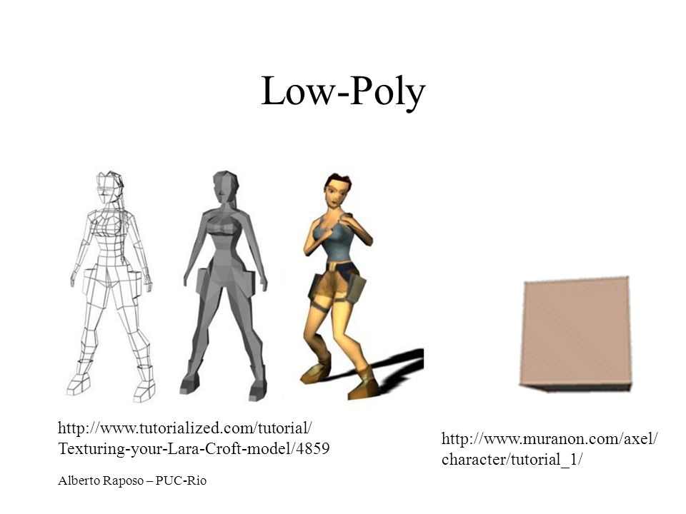 Alberto Raposo – PUC-Rio Low-Poly http://www.muranon.com/axel/ character/tutorial_1/ http://www.tutorialized.com/tutorial/ Texturing-your-Lara-Croft-m