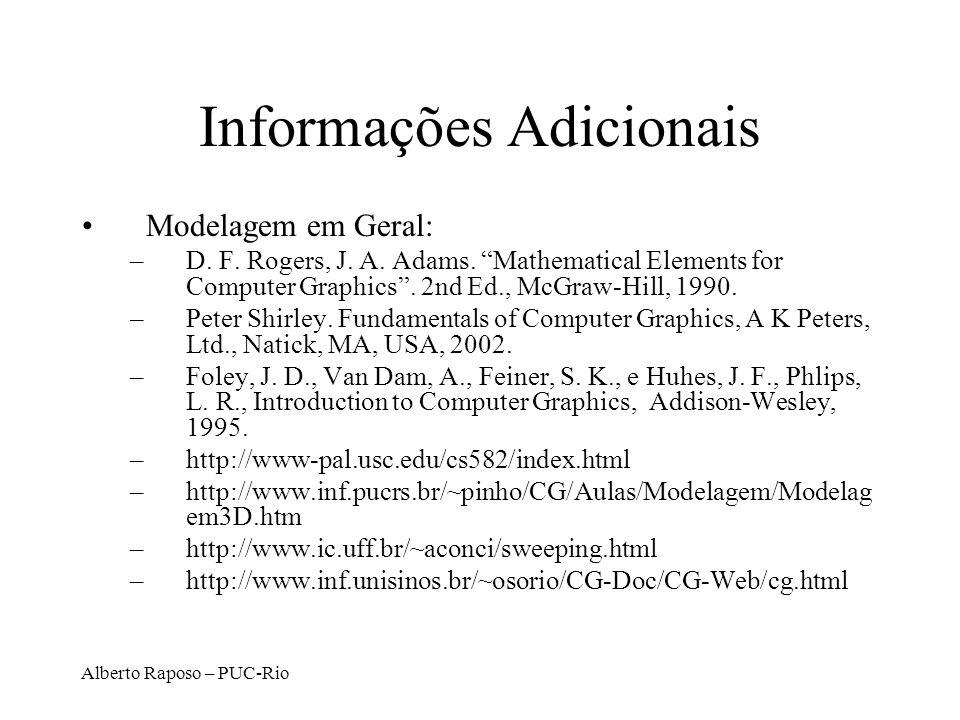 Alberto Raposo – PUC-Rio Informações Adicionais Modelagem em Geral: –D. F. Rogers, J. A. Adams. Mathematical Elements for Computer Graphics. 2nd Ed.,