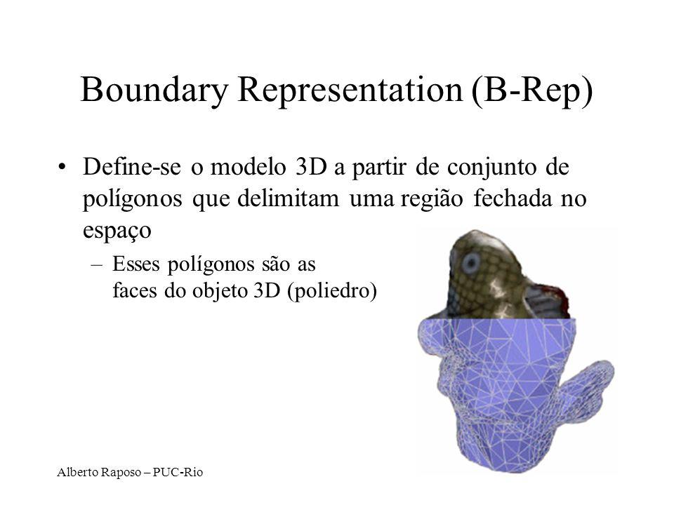Alberto Raposo – PUC-Rio Boundary Representation (B-Rep) Define-se o modelo 3D a partir de conjunto de polígonos que delimitam uma região fechada no e