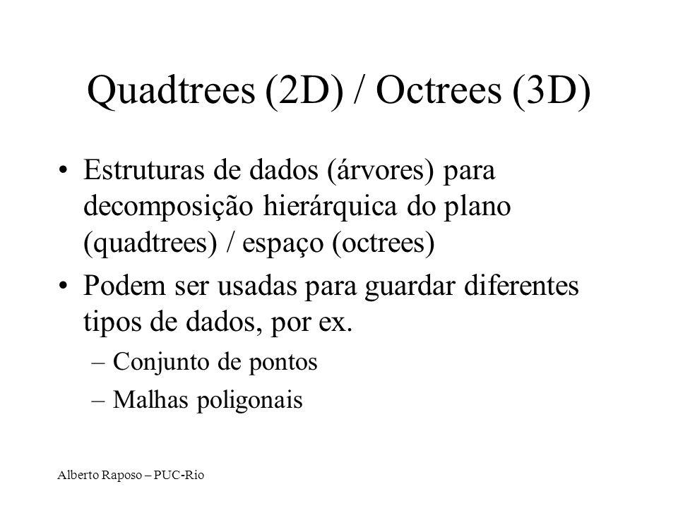 Alberto Raposo – PUC-Rio Quadtrees (2D) / Octrees (3D) Estruturas de dados (árvores) para decomposição hierárquica do plano (quadtrees) / espaço (octr