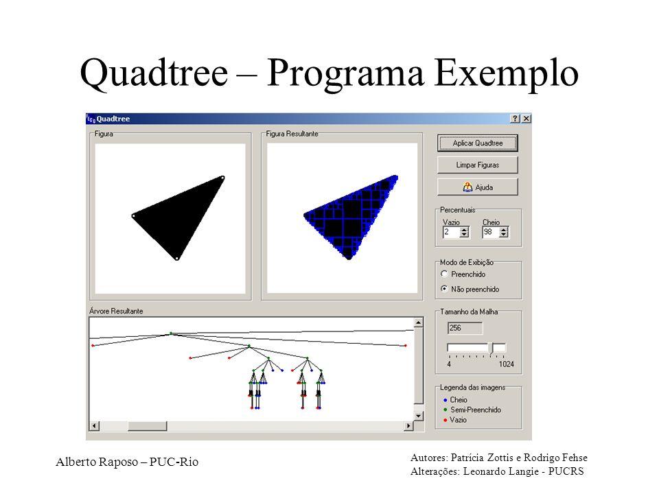 Alberto Raposo – PUC-Rio Quadtree – Programa Exemplo Autores: Patrícia Zottis e Rodrigo Fehse Alterações: Leonardo Langie - PUCRS