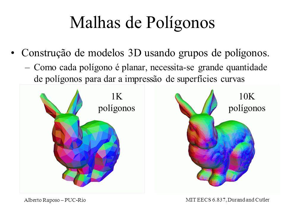 Alberto Raposo – PUC-Rio Malhas de Polígonos Construção de modelos 3D usando grupos de polígonos. –Como cada polígono é planar, necessita-se grande qu