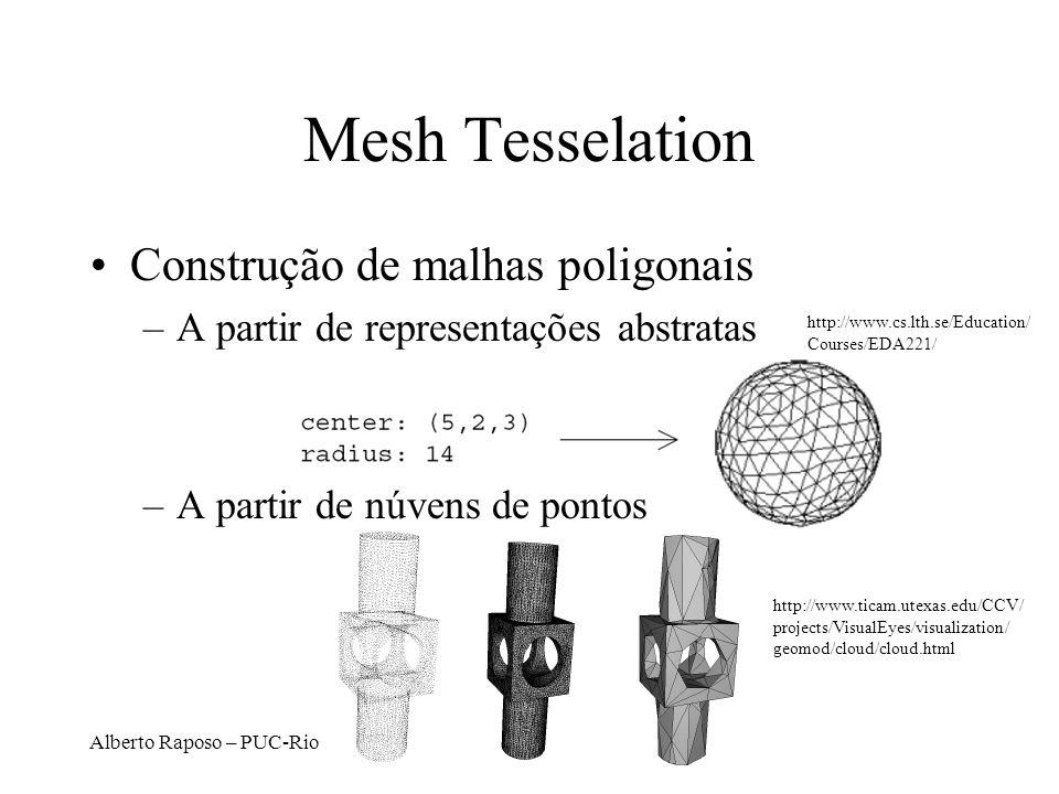 Alberto Raposo – PUC-Rio Mesh Tesselation Construção de malhas poligonais –A partir de representações abstratas –A partir de núvens de pontos http://w