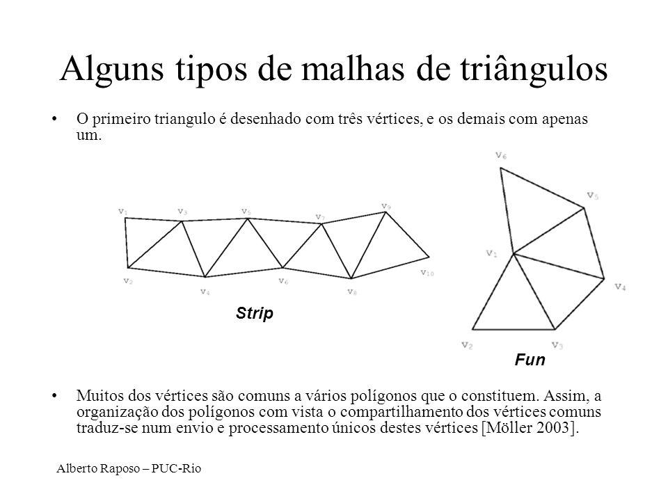 Alberto Raposo – PUC-Rio Strip Fun Alguns tipos de malhas de triângulos O primeiro triangulo é desenhado com três vértices, e os demais com apenas um.