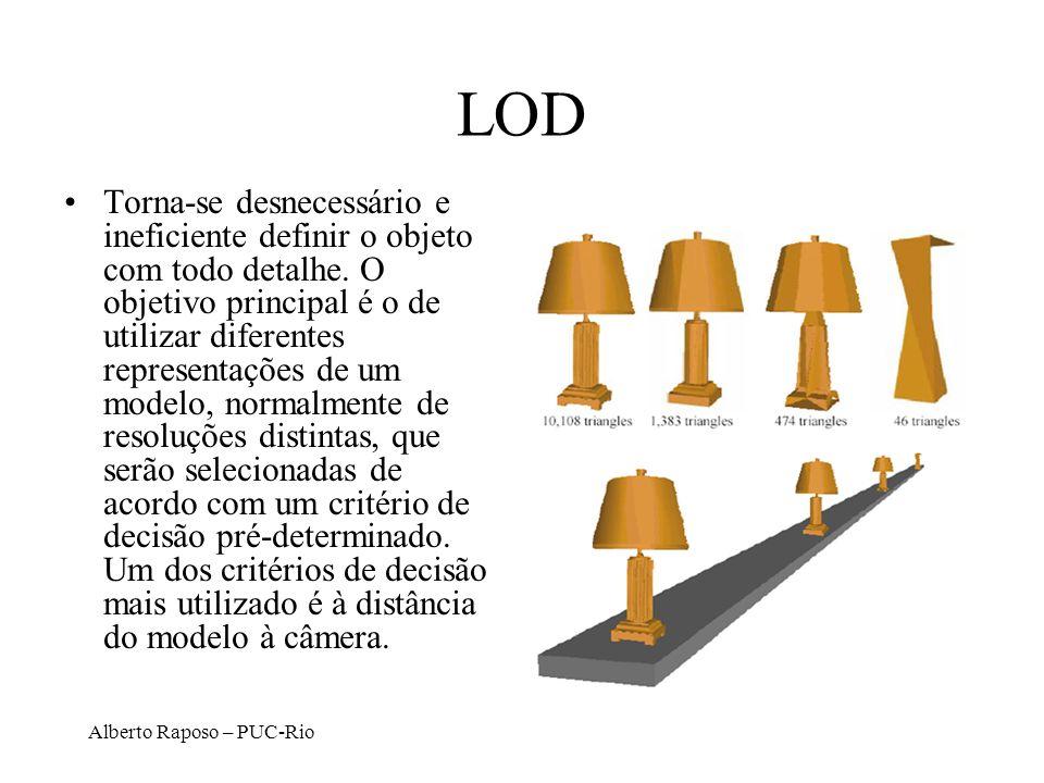 Alberto Raposo – PUC-Rio LOD Torna-se desnecessário e ineficiente definir o objeto com todo detalhe. O objetivo principal é o de utilizar diferentes r