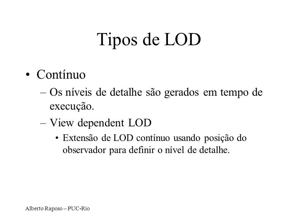 Alberto Raposo – PUC-Rio Tipos de LOD Contínuo –Os níveis de detalhe são gerados em tempo de execução. –View dependent LOD Extensão de LOD contínuo us