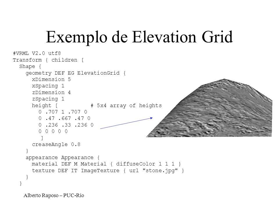 Alberto Raposo – PUC-Rio Exemplo de Elevation Grid #VRML V2.0 utf8 Transform { children [ Shape { geometry DEF EG ElevationGrid { xDimension 5 xSpacin