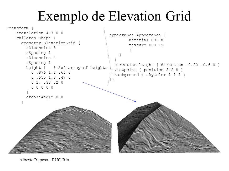Alberto Raposo – PUC-Rio Exemplo de Elevation Grid Transform { translation 4.3 0 0 children Shape { geometry ElevationGrid { xDimension 5 xSpacing 1 z