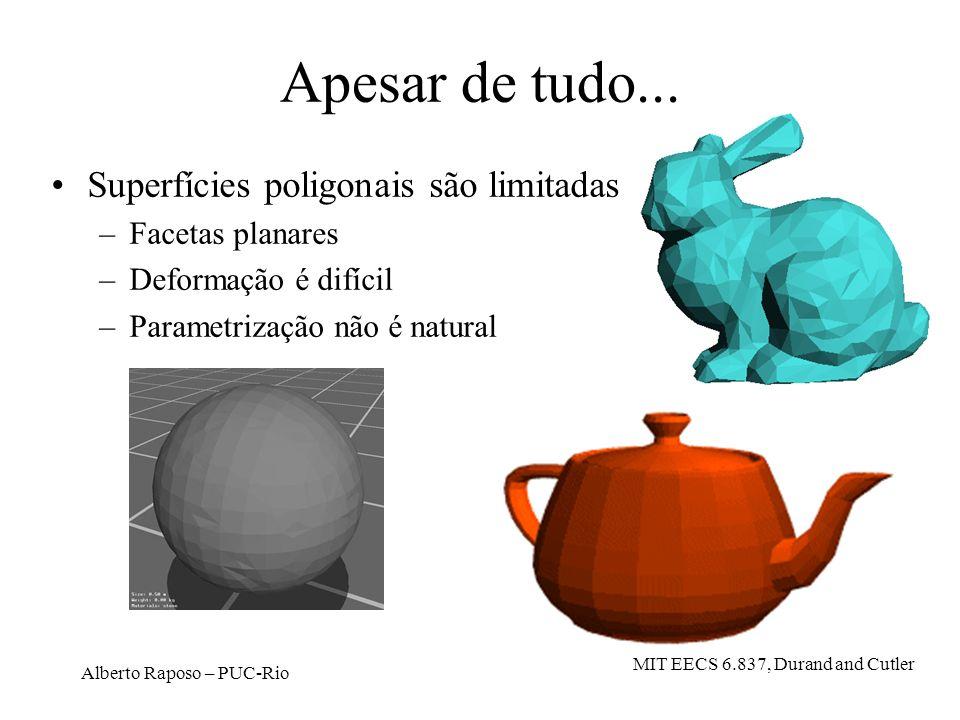 Alberto Raposo – PUC-Rio Apesar de tudo... Superfícies poligonais são limitadas –Facetas planares –Deformação é difícil –Parametrização não é natural