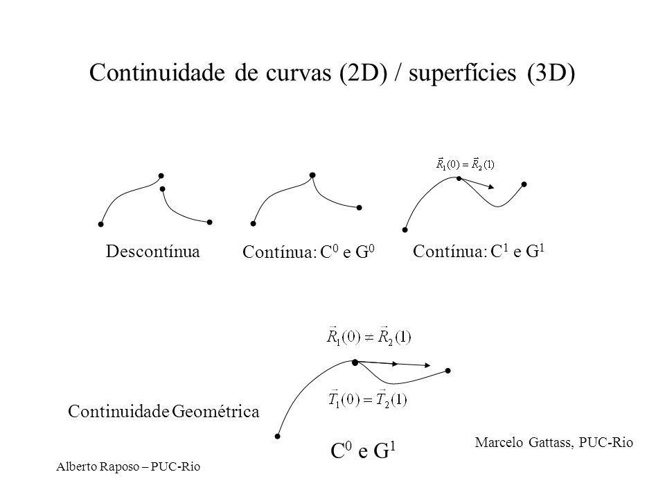 Alberto Raposo – PUC-Rio Continuidade de curvas (2D) / superfícies (3D) Descontínua Contínua: C 0 e G 0 Contínua: C 1 e G 1 C 0 e G 1 Continuidade Geo