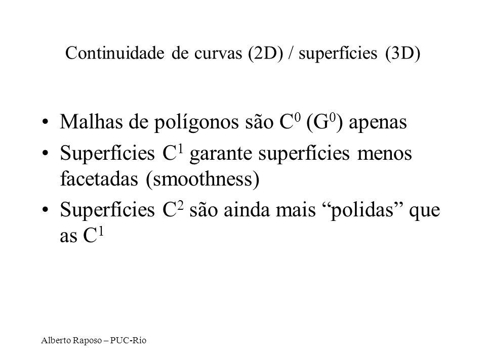 Alberto Raposo – PUC-Rio Continuidade de curvas (2D) / superfícies (3D) Malhas de polígonos são C 0 (G 0 ) apenas Superfícies C 1 garante superfícies