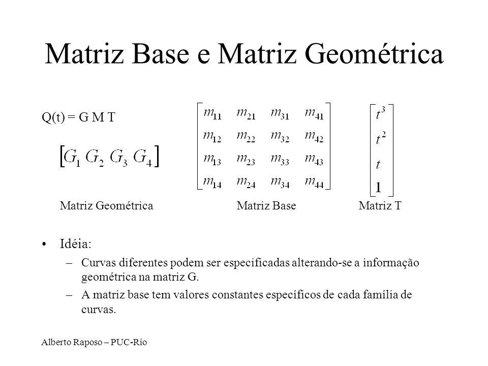 Alberto Raposo – PUC-Rio Matriz Base e Matriz Geométrica Q(t) = G M T Matriz GeométricaMatriz Base Matriz T Idéia: –Curvas diferentes podem ser especi