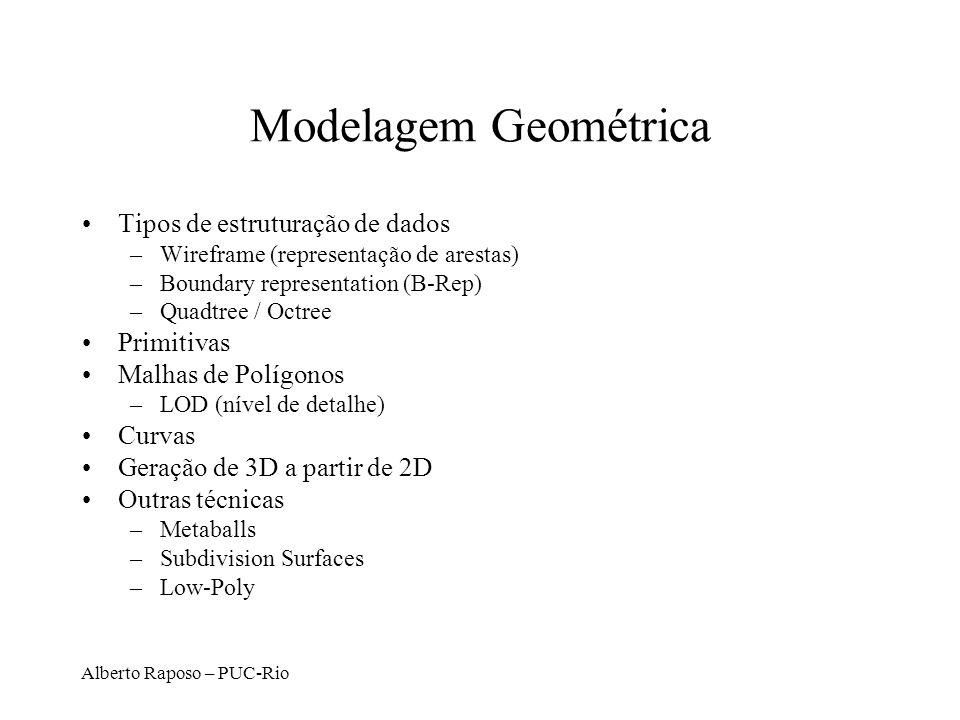 Alberto Raposo – PUC-Rio Tipos de primitivas em OpenGL GL_LINES 0 1 2 35 4 GL_LINE_STRIP 0 1 2 3 GL_LINE_LOOP 0 1 23 4 GL_POLYGON (convexo) 0 4 3 2 1 GL_QUADS 0 3 2 1 47 6 5 GL_QUAD_STRIP 0 3 1 2 4 5 GL_TRIANGLES 0 1 2 3 4 5 GL_TRIANGLE_STRIP 1 0 2 3 4 5 GL_TRIANGLE_FAN 0 1 2 3 4 GL_POINTS 0 1 2