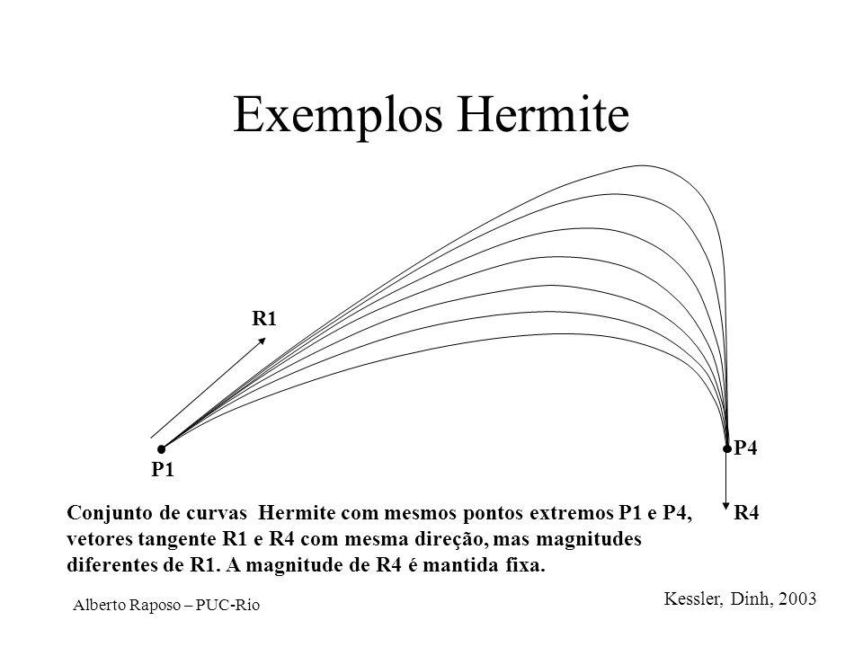 Alberto Raposo – PUC-Rio Exemplos Hermite P1 P4 R4 R1 Conjunto de curvas Hermite com mesmos pontos extremos P1 e P4, vetores tangente R1 e R4 com mesm
