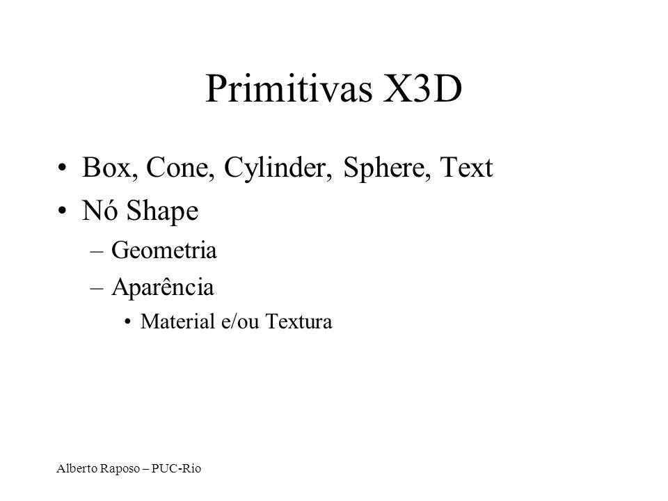 Alberto Raposo – PUC-Rio Box <Shape DEF=MyShapeNode bboxCenter = 0 0 0 bboxSize= -1 -1 -1 <Box DEF=SingleGeometryNode size = 1 1 1 solid = true /> <Appearance DEF = SingleAppearanceNode /> Indica se é visto apenas de um lado