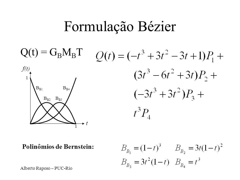 Alberto Raposo – PUC-Rio Formulação Bézier Q(t) = G B M B T t f(t) 1 1 B B1 B B4 B B2 B B3 Polinômios de Bernstein: