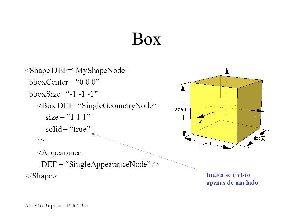 Alberto Raposo – PUC-Rio VRML Extrusion – Exemplo http://www.lighthouse3d.com/ vrml/tutorial/index.shtml?extru #VRML V2.0 utf8 Transform { children [ Shape{ appearance Appearance { material Material {}} geometry Extrusion{ crossSection [ -1 -1, -1 1, 1 1, 1 -1, -1 -1] spine [0 -1 0, 0 1 0 ] beginCap FALSE endCap FALSE} } ]}
