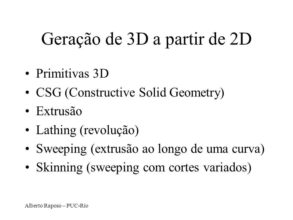 Alberto Raposo – PUC-Rio Geração de 3D a partir de 2D Primitivas 3D CSG (Constructive Solid Geometry) Extrusão Lathing (revolução) Sweeping (extrusão