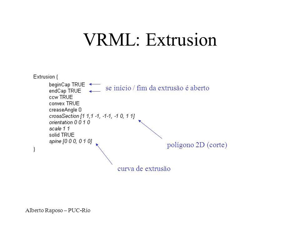 Alberto Raposo – PUC-Rio VRML: Extrusion polígono 2D (corte) curva de extrusão se início / fim da extrusão é aberto