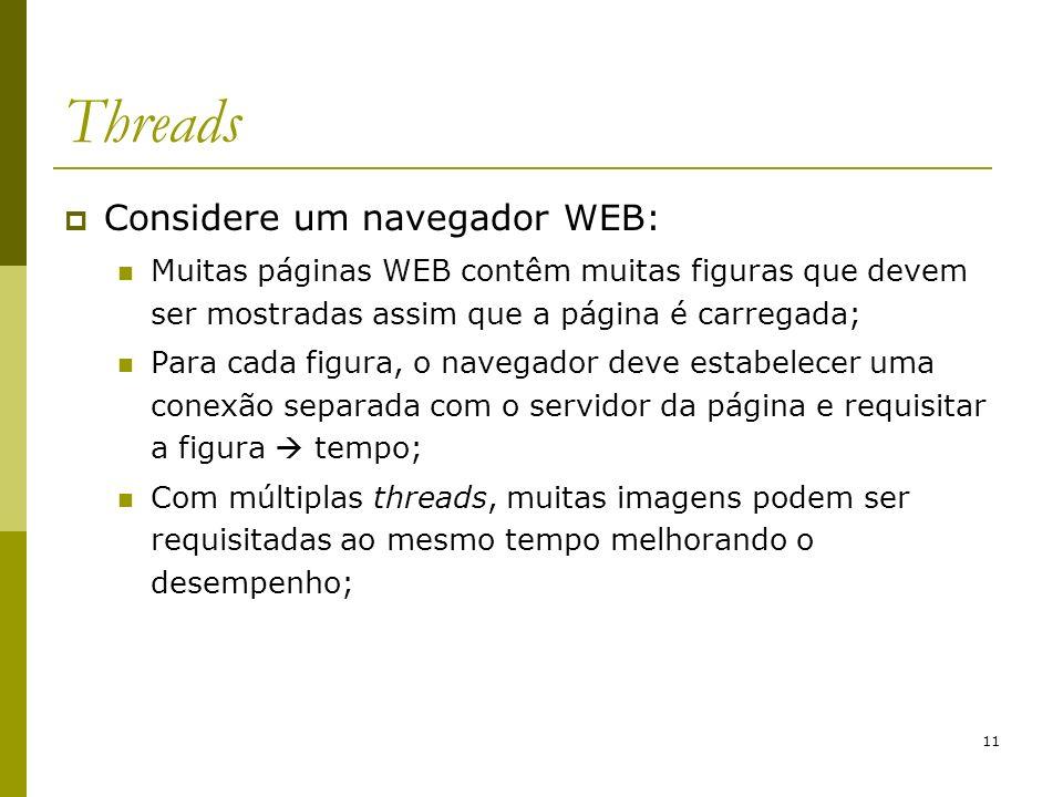 11 Threads Considere um navegador WEB: Muitas páginas WEB contêm muitas figuras que devem ser mostradas assim que a página é carregada; Para cada figu