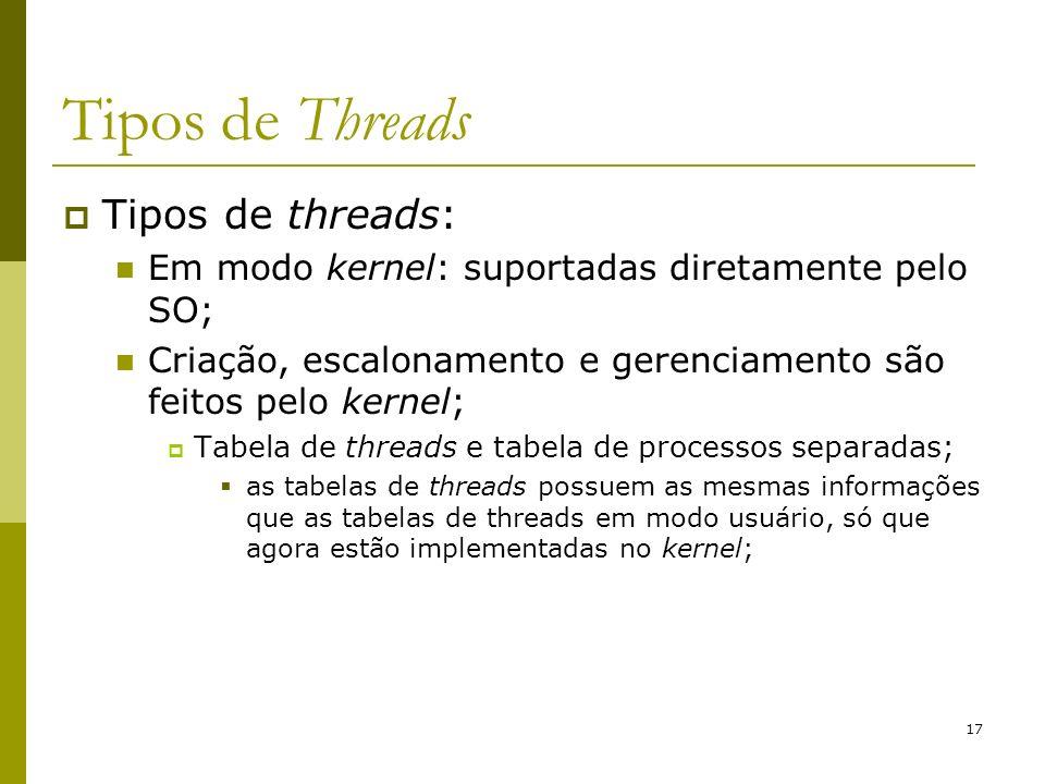 17 Tipos de Threads Tipos de threads: Em modo kernel: suportadas diretamente pelo SO; Criação, escalonamento e gerenciamento são feitos pelo kernel; T