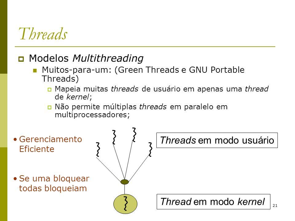 21 Threads Modelos Multithreading Muitos-para-um: (Green Threads e GNU Portable Threads) Mapeia muitas threads de usuário em apenas uma thread de kern