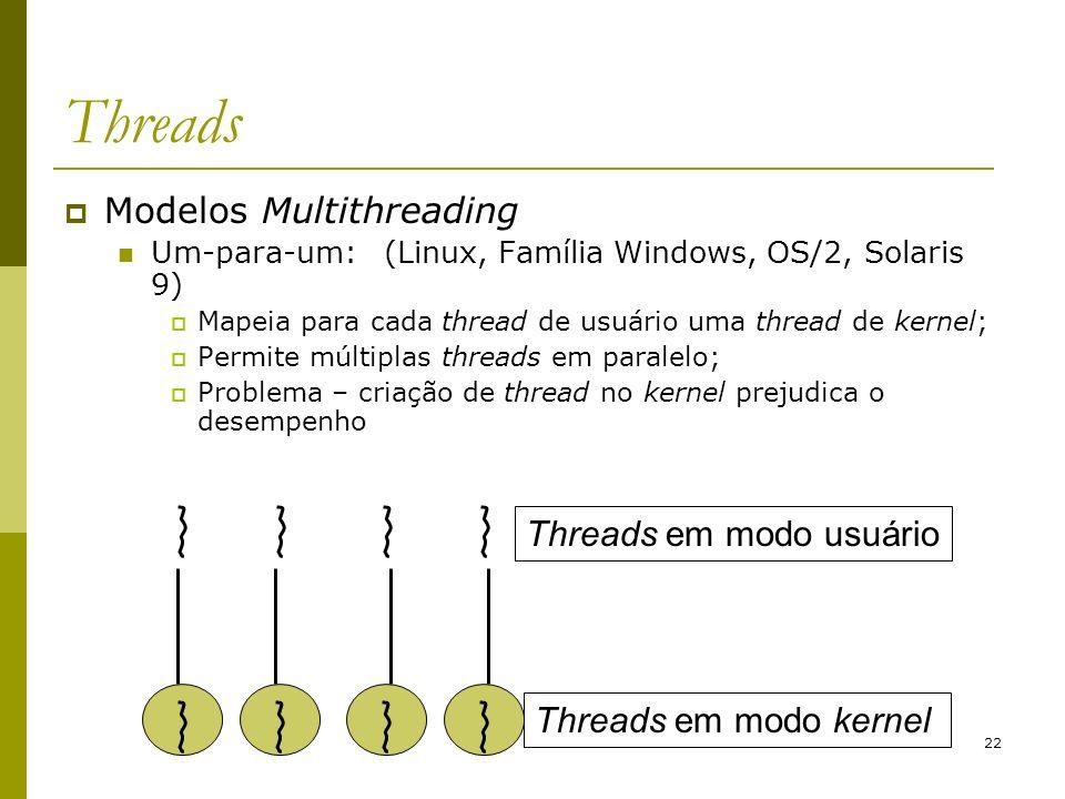 22 Threads Modelos Multithreading Um-para-um:(Linux, Família Windows, OS/2, Solaris 9) Mapeia para cada thread de usuário uma thread de kernel; Permit