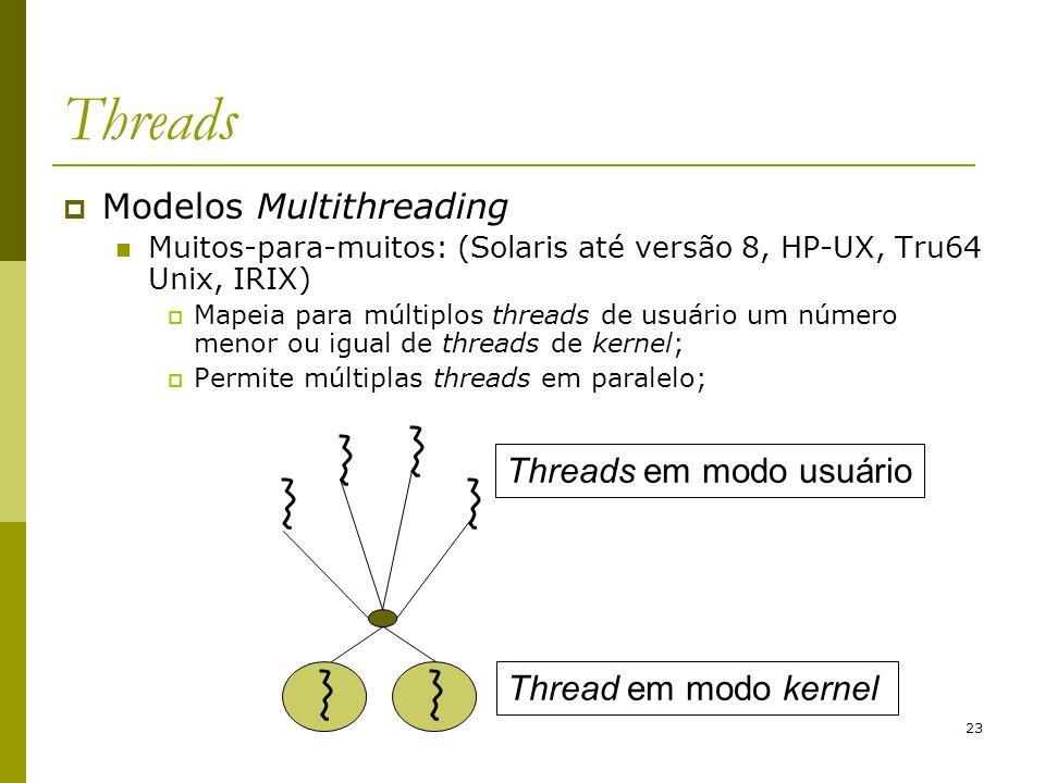 23 Threads Modelos Multithreading Muitos-para-muitos: (Solaris até versão 8, HP-UX, Tru64 Unix, IRIX) Mapeia para múltiplos threads de usuário um núme