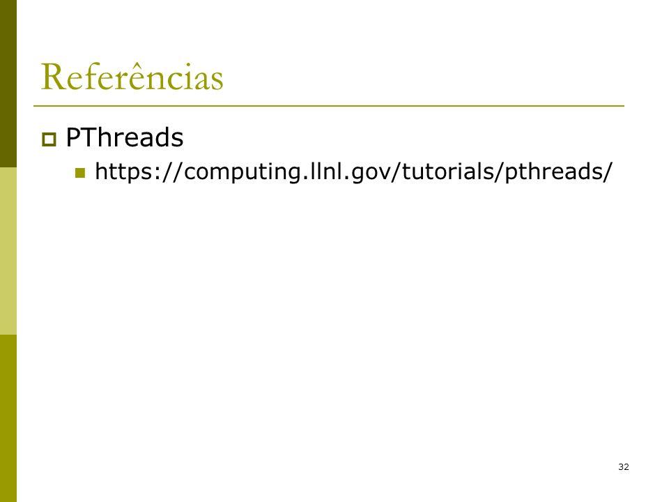 32 Referências PThreads https://computing.llnl.gov/tutorials/pthreads/