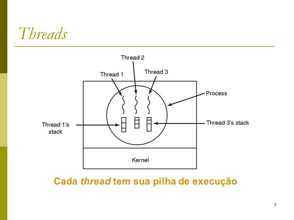 16 Implementação de threads Implementação em espaço de usuário: Problemas: Como permitir chamadas bloqueantes se as chamadas ao sistema são bloqueantes e essa chamada irá bloquear todas as threads.
