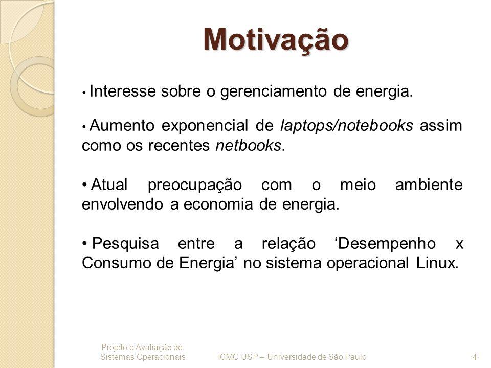Motivação Projeto e Avaliação de Sistemas Operacionais 4 ICMC USP – Universidade de São Paulo Interesse sobre o gerenciamento de energia. Aumento expo