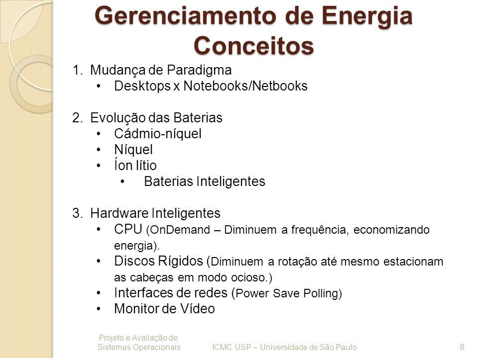 Perfis de Energia - acpid Projeto e Avaliação de Sistemas Operacionais 19 ICMC USP – Universidade de São Paulo O daemon acpid é responsável por fica aguardando eventos ACPI e executar ações de acordo com configurações pré-definidas.