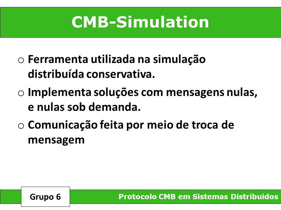 CMB-Simulation Protocolo CMB em Sistemas Distribuidos Grupo 6 o Ferramenta utilizada na simulação distribuída conservativa. o Implementa soluções com