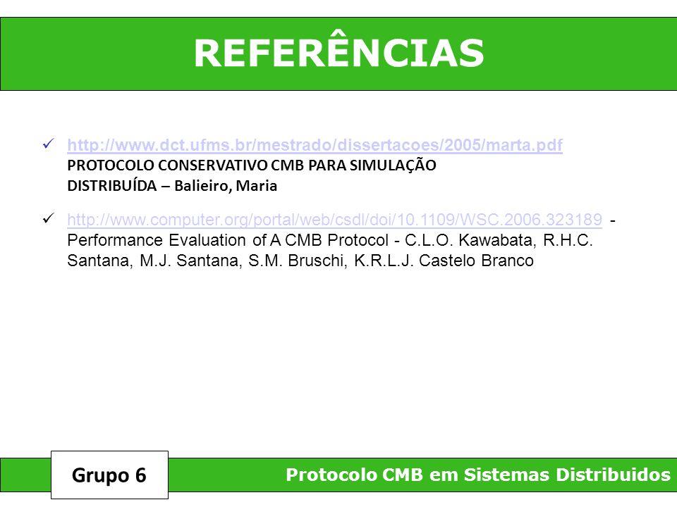 REFERÊNCIAS Protocolo CMB em Sistemas Distribuidos Grupo 6 http://www.dct.ufms.br/mestrado/dissertacoes/2005/marta.pdf PROTOCOLO CONSERVATIVO CMB PARA
