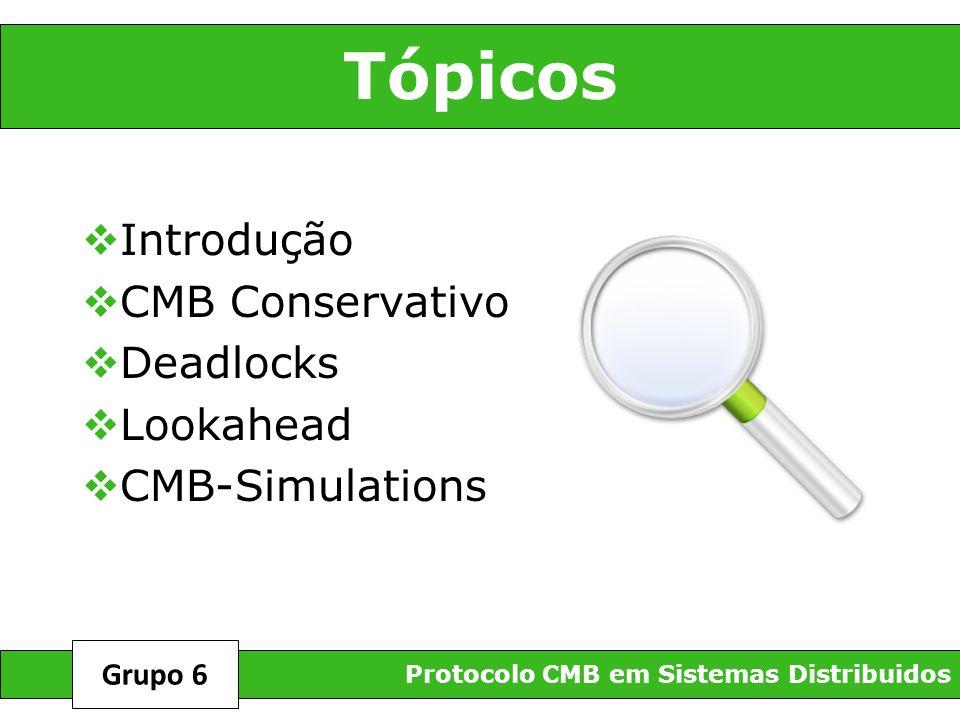 Tópicos Introdução CMB Conservativo Deadlocks Lookahead CMB-Simulations Protocolo CMB em Sistemas Distribuidos Grupo 6