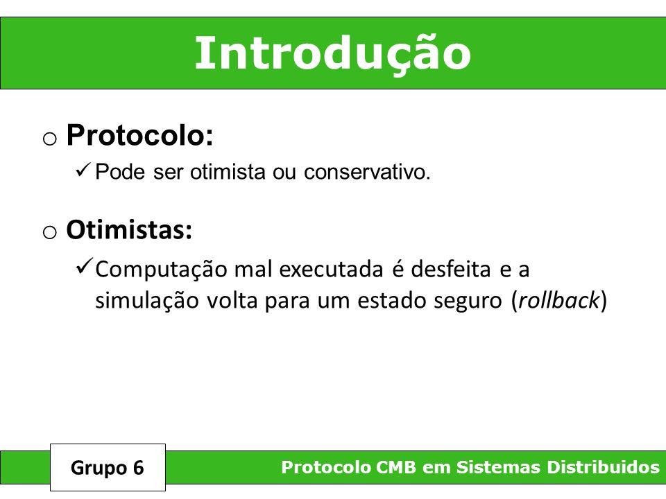 REFERÊNCIAS Protocolo CMB em Sistemas Distribuidos Grupo 6 http://www.dct.ufms.br/mestrado/dissertacoes/2005/marta.pdf PROTOCOLO CONSERVATIVO CMB PARA SIMULAÇÃO DISTRIBUÍDA – Balieiro, Maria http://www.computer.org/portal/web/csdl/doi/10.1109/WSC.2006.323189 - Performance Evaluation of A CMB Protocol - C.L.O.