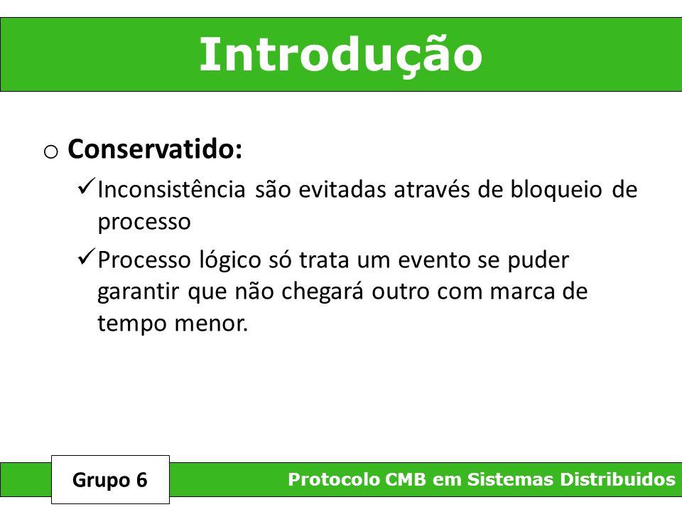 Introdução o Conservatido: Inconsistência são evitadas através de bloqueio de processo Processo lógico só trata um evento se puder garantir que não ch