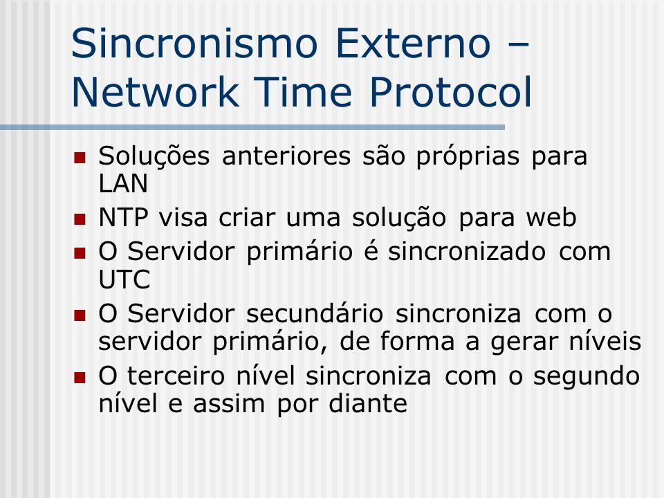 Sincronismo Externo – Network Time Protocol Soluções anteriores são próprias para LAN NTP visa criar uma solução para web O Servidor primário é sincro