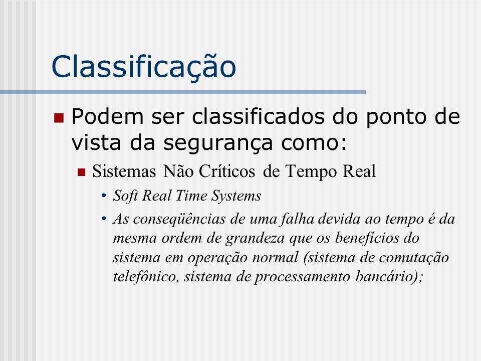 Classificação Podem ser classificados do ponto de vista da segurança como: Sistemas Não Críticos de Tempo Real Soft Real Time Systems As conseqüências