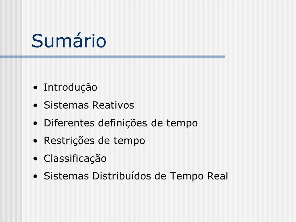 Sumário Introdução Sistemas Reativos Diferentes definições de tempo Restrições de tempo Classificação Sistemas Distribuídos de Tempo Real